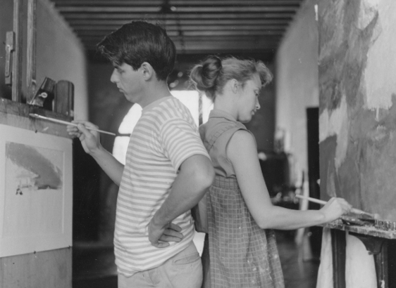 Emily and Wolf in their Venice Studio, 1958. Photographed by Tinto Brass.